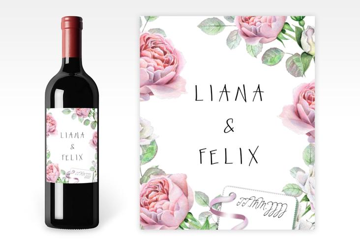 """Weinetikett zur Hochzeit """"Primavera"""" Etikett Weinflasche 4er Set weiß"""