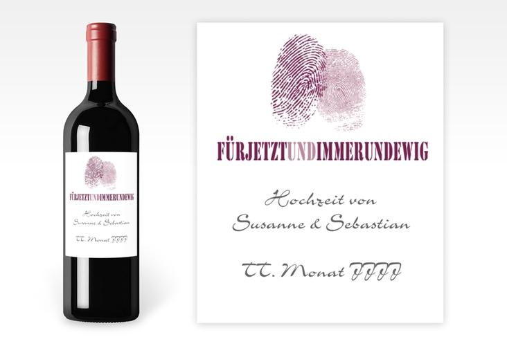 """Weinflaschenetikett Hochzeit """"Messina"""" Etikett Weinflasche 4er Set lila"""