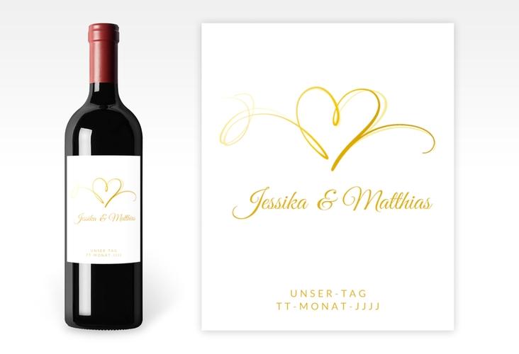 """Weinflaschenetikett Hochzeit """"Envie"""" Etikett Weinflasche 4er Set gold"""