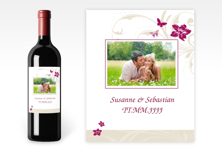 """Weinflaschenetikett Hochzeit """"Parma"""" Etikett Weinflasche 4er Set"""