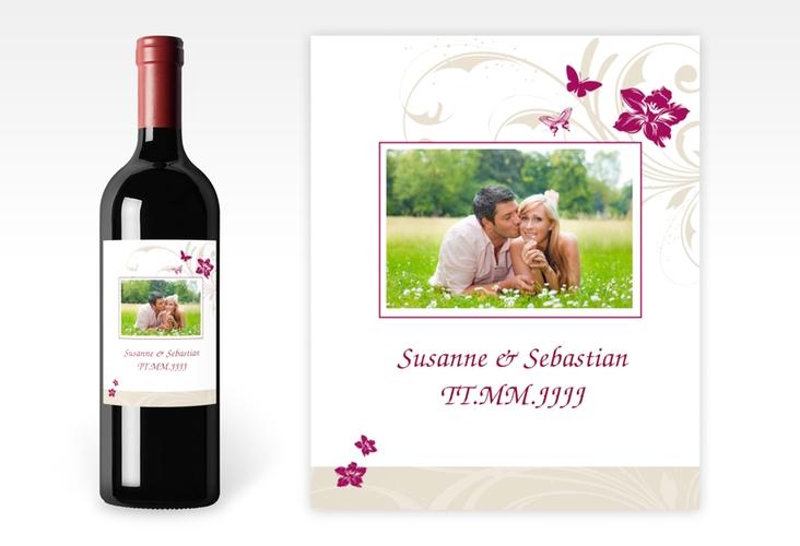 """Weinflaschenetikett Hochzeit """"Parma"""" Etikett Weinflasche 4er Set pink"""