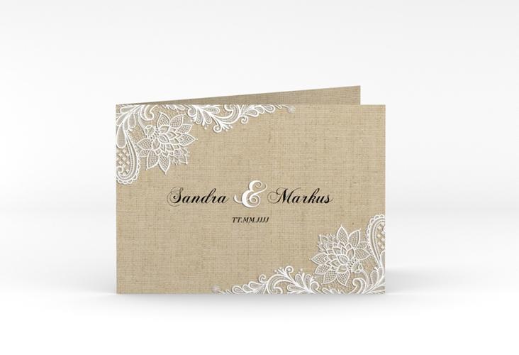 """Danksagungskarte Hochzeit """"Lace"""" A6 Klappkarte Quer beige"""
