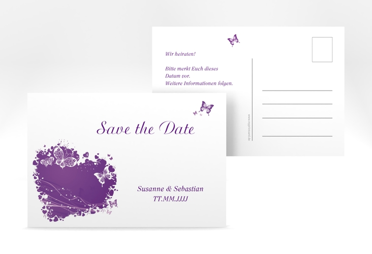 "Save the Date-Postkarte ""Mailand"" A6 Postkarte lila"