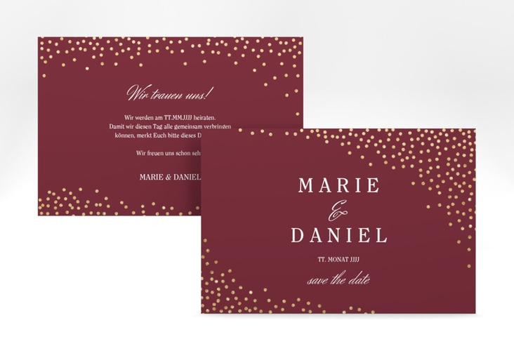 """Save the Date-Karte """"Glitter"""" A6 quer rot"""