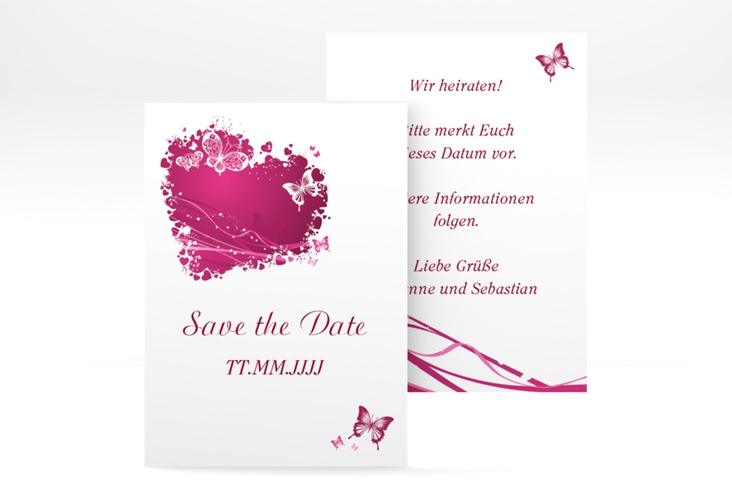 "Save the Date-Visitenkarte ""Mailand"" Visitenkarte pink"