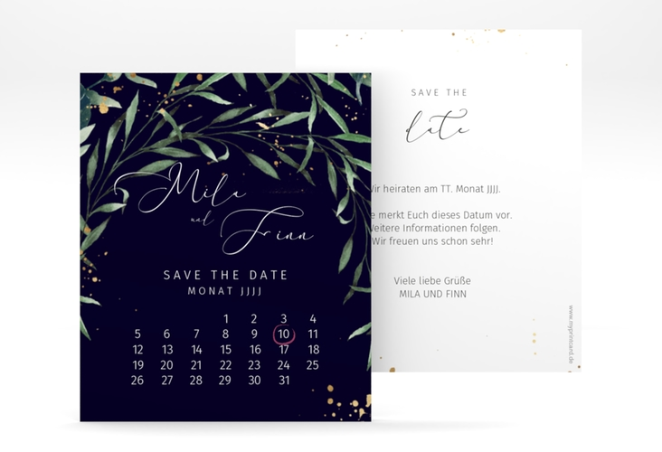 """Save the Date-Kalenderblatt """"Vivaldi"""" Kalenderblatt-Karte blau"""