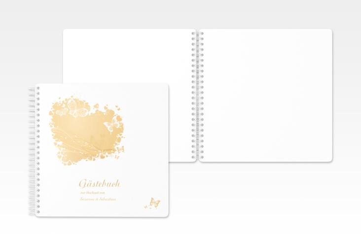 """Gästebuch Hochzeit """"Mailand"""" Ringbindung beige"""