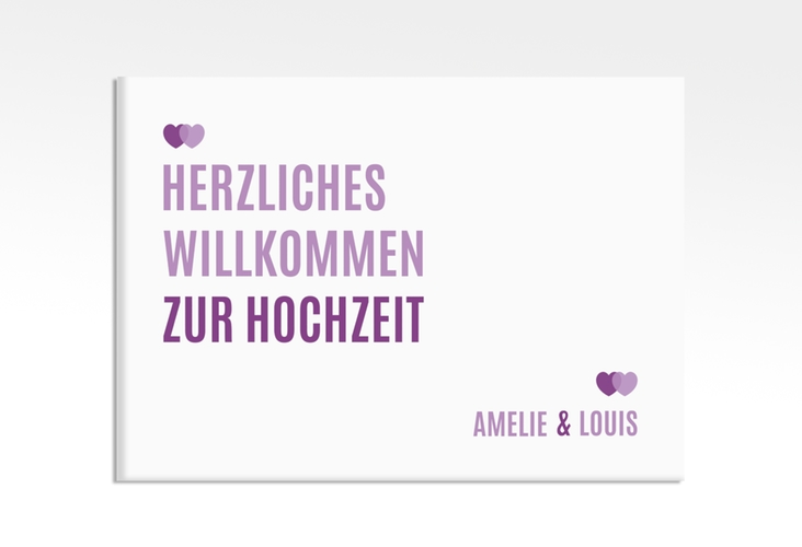 """Willkommensschild Hochzeit """"Couple"""" 70 x 50 cm Leinwand lila"""