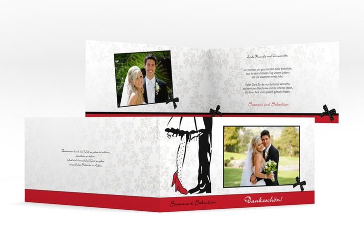 "Danksagungskarte Hochzeit ""Straßburg"" DIN lang Klappkarte rot"