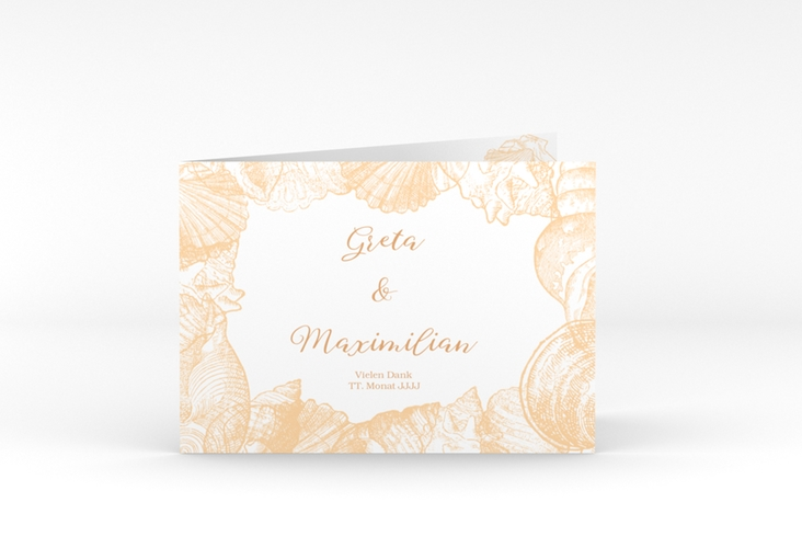 """Danksagungskarte Hochzeit """"Muschelreich"""" A6 Klappkarte Quer beige"""