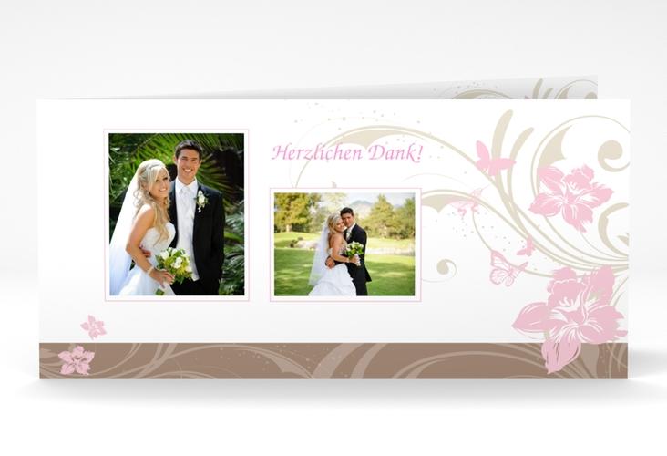 "Danksagungskarte Hochzeit ""Parma"" DIN lang Klappkarte rosa"