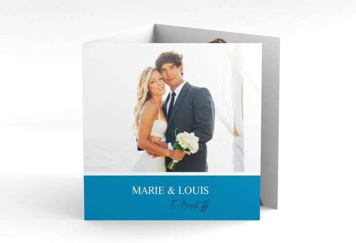 "Dankeskarte Hochzeit ""Balance"" Quadr. Karte doppelt blau"