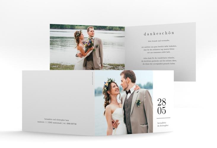 """Dankeskarte Hochzeit """"Minimal"""" A6 Klappkarte Quer"""