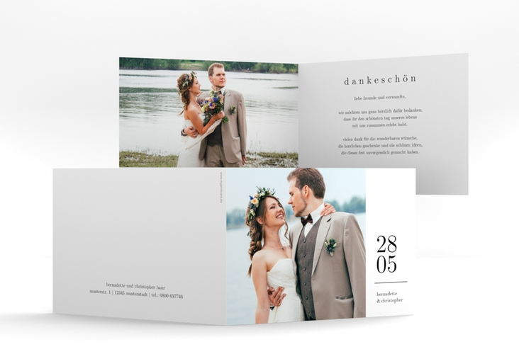 """Dankeskarte Hochzeit """"Minimal"""" A6 Klappkarte Quer weiss"""
