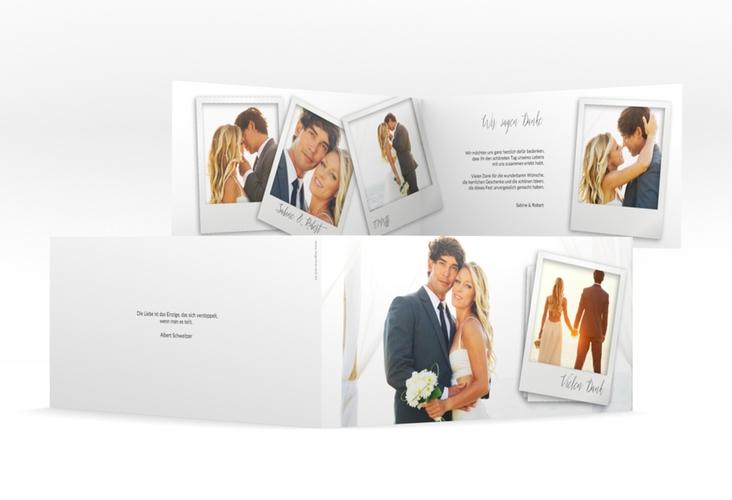"""Dankeskarte Hochzeit """"Portrait"""" DIN lang Klappkarte weiss"""
