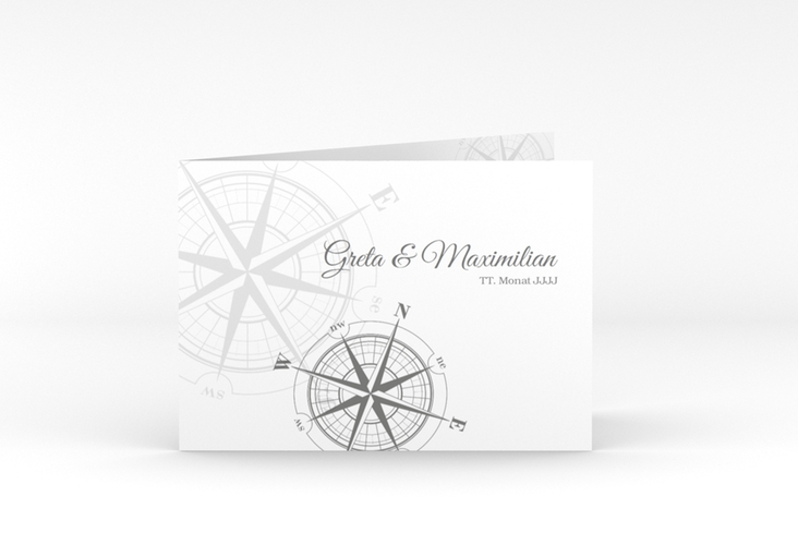 "Dankeskarte Hochzeit ""Windrose"" A6 Klappkarte Quer grau"