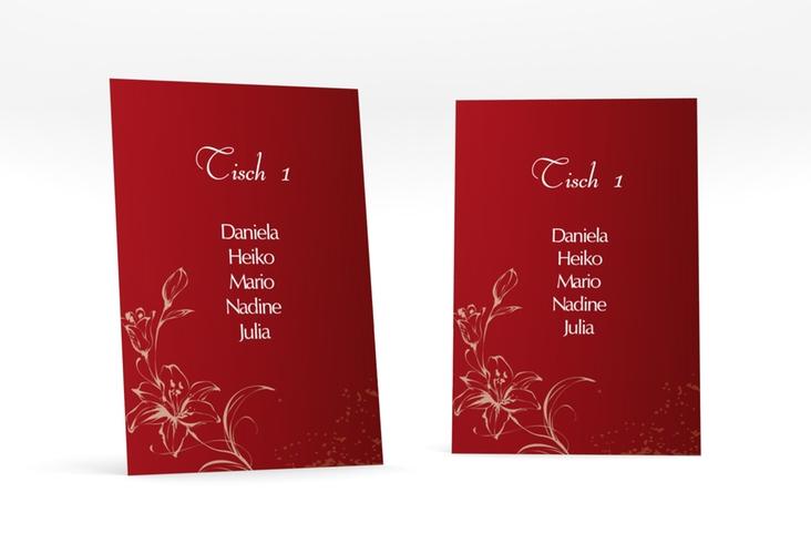 """Tischaufsteller Hochzeit """"Lille"""" Tischaufsteller rot"""