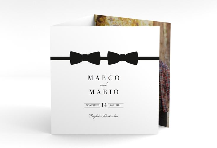 "Dankeskarte Hochzeit ""Suits"" Quadr. Karte doppelt schwarz"