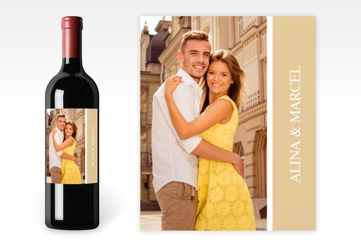 """Weinetikett zur Hochzeit """"Classic"""" Etikett Weinflasche 4er Set beige"""
