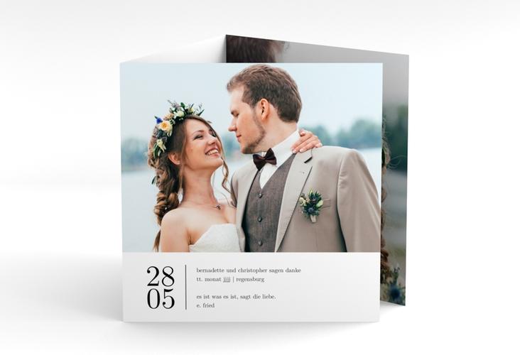 """Dankeskarte Hochzeit """"Minimal"""" Quadr. Karte doppelt weiss"""