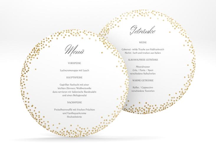 """Menükarte Hochzeit """"Glitter"""" rund weiss"""
