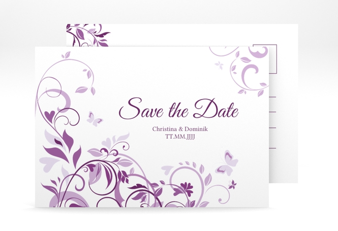 """Save the Date-Postkarte """"Lilly"""" A6 Postkarte lila"""