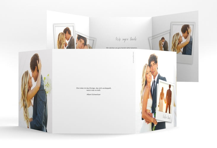 "Dankeskarte Hochzeit ""Portrait"" Quadr. Karte doppelt weiss"