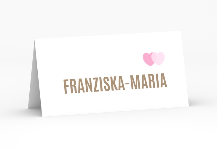 """Tischkarte Hochzeit """"Couple"""" Tischkarten rosa"""