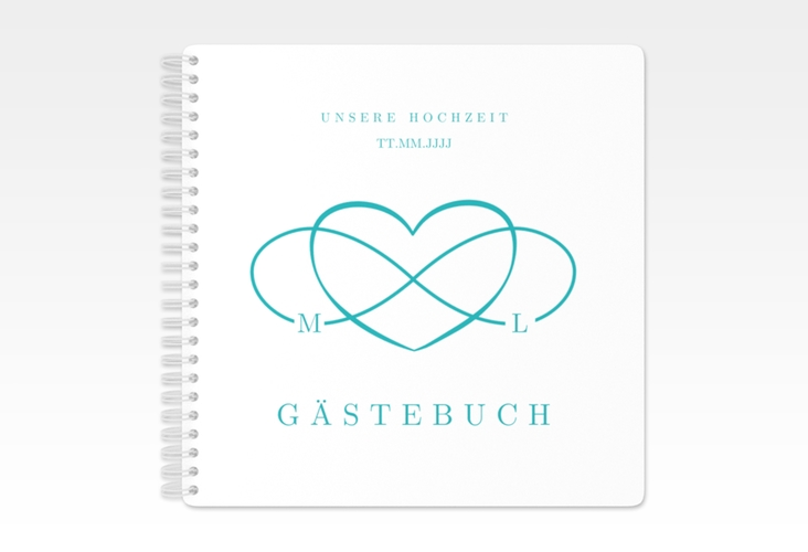"""Gästebuch Hochzeit """"Infinity"""" Ringbindung tuerkis"""