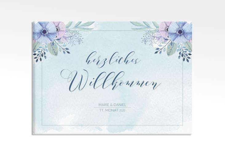 """Willkommensschild Hochzeit """"Surfinia"""" 70 x 50 cm Leinwand blau"""
