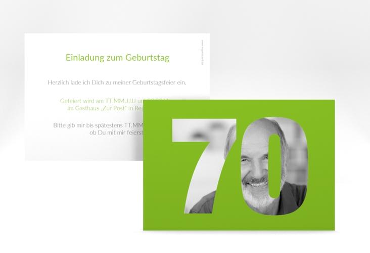 """Einladungskarte """"Numbers"""" A6 quer gruen"""