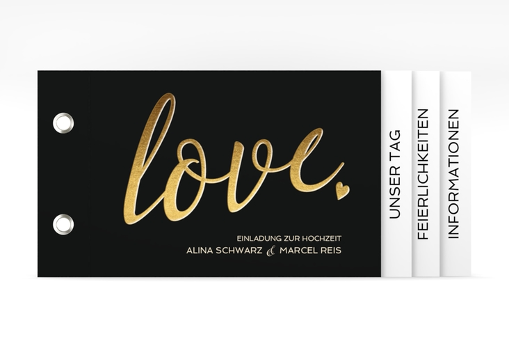 """Hochzeitseinladung """"Glam"""" Booklet schwarz"""
