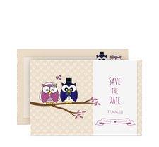 """Save the Date-Karte Hochzeit """"Eulenliebe"""""""