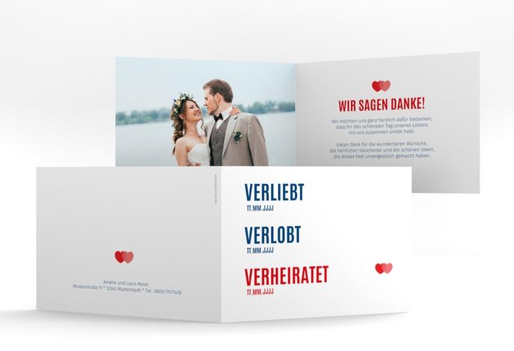 """Danksagungskarte Hochzeit """"Couple"""" A6 Klappkarte Quer rot"""