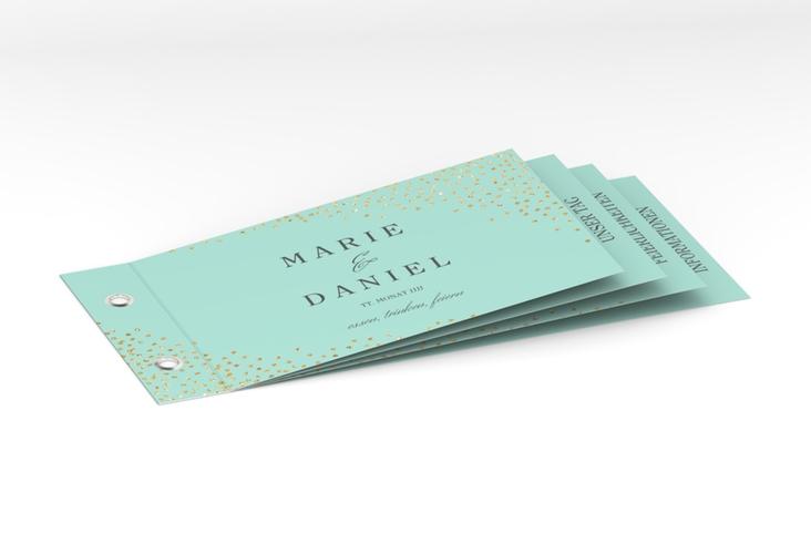 """Hochzeitseinladung """"Glitter"""" Booklet mint"""