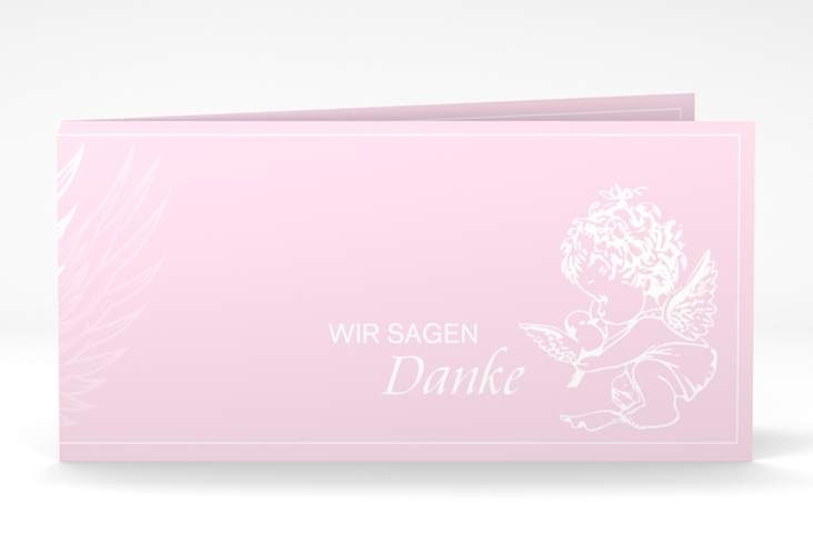 "Dankeskarte Taufe ""Angel"" DIN lang Klappkarte rosa"