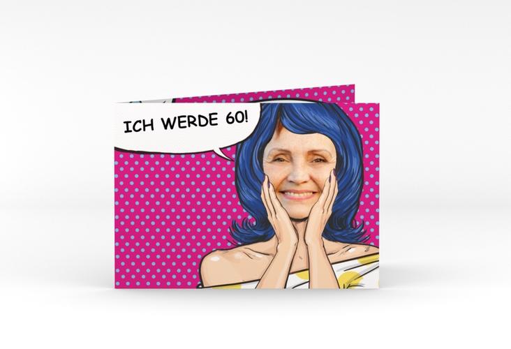 """Einladungskarte """"Popart Woman"""" A6 Klappkarte Quer"""