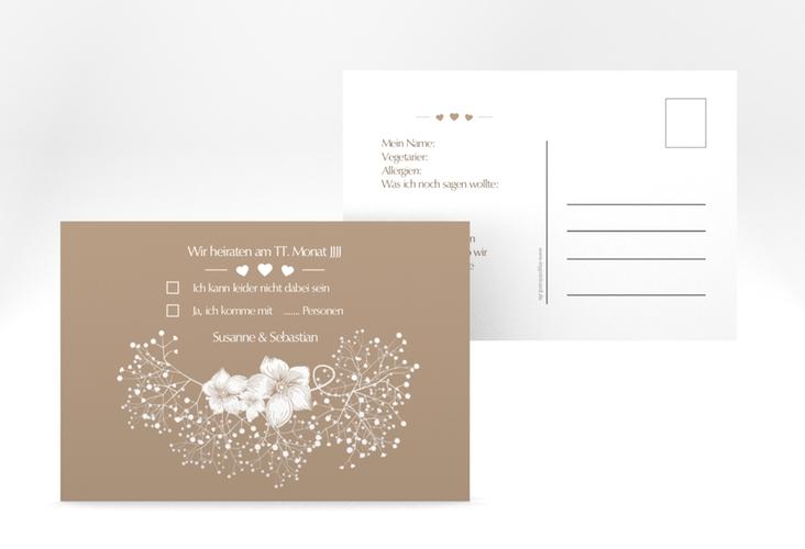 """Antwortkarte Hochzeit """"Jena"""" A6 Postkarte braun"""