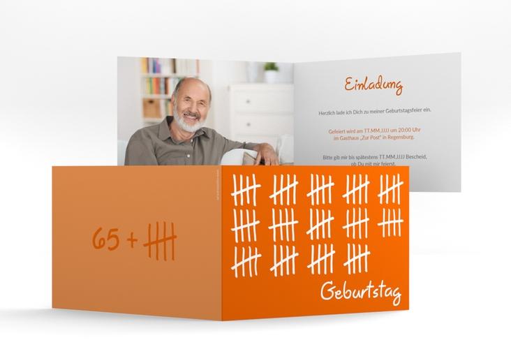 """Einladungskarte """"Strichliste"""" A6 Klappkarte Quer orange"""