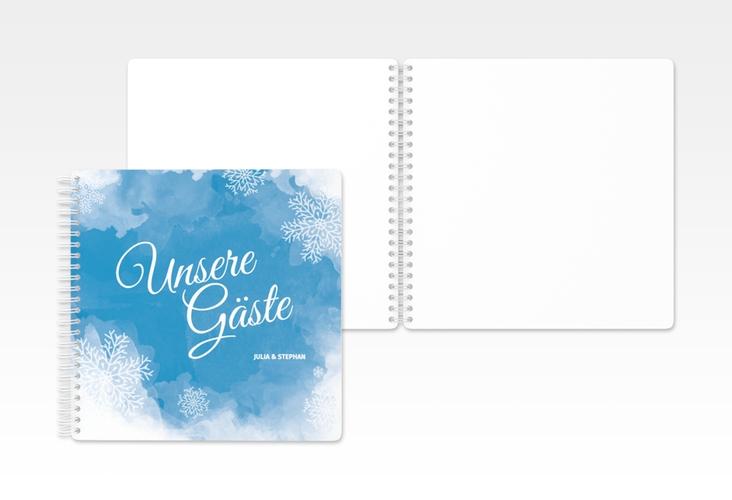 """Gästebuch Hochzeit """"Frozen"""" Ringbindung blau"""