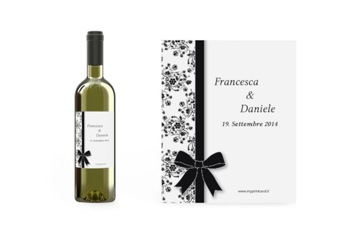 Etichette vino matrimonio collezione Bologna Etikett Weinflasche 4er Set bianco