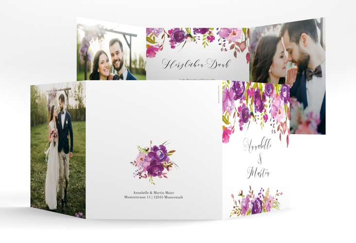 "Dankeskarte Hochzeit ""Violett"" Quadr. Karte doppelt weiss"