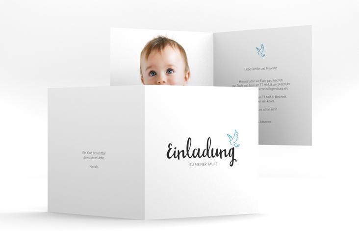 "Einladung Taufe ""Belief"" Quadratische Klappkarte blau"