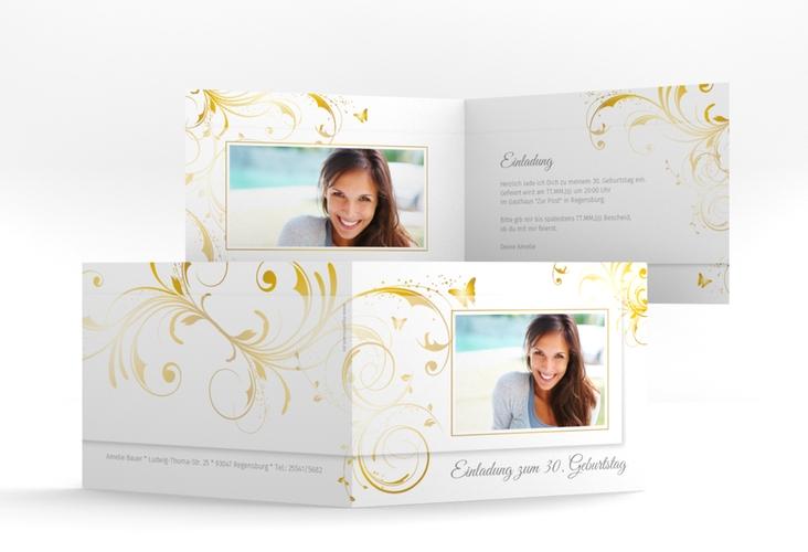 """Einladungskarte """"Papillon"""" A6 Klappkarte Quer gold"""