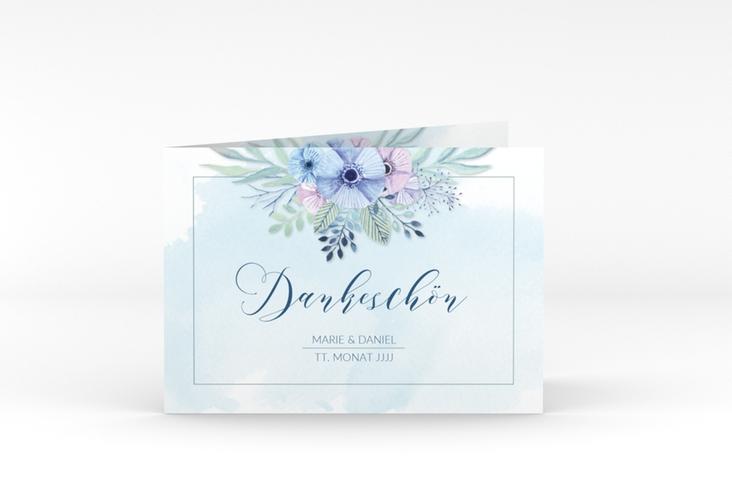 """Dankeskarte Hochzeit """"Surfinia"""" A6 Klappkarte Quer blau"""