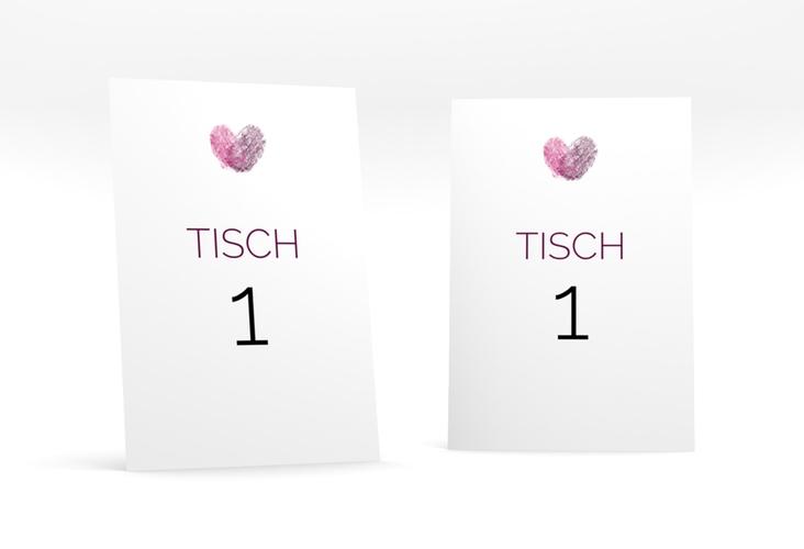 """Tischnummer Hochzeit """"Fingerprint"""" Tischaufsteller pink"""