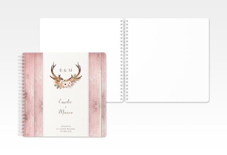 """Gästebuch Hochzeit """"Heimatjuwel"""" Ringbindung rosa"""