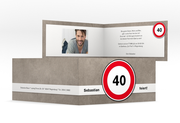 "Einladungskarte ""Emil/Emma"" DIN lang Klappkarte"