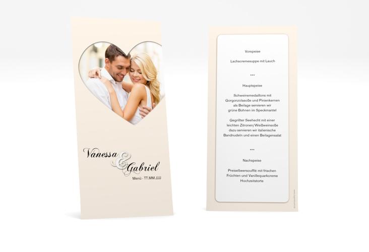 "Menükarte Hochzeit ""Sweetheart"" DIN lang hoch beige"
