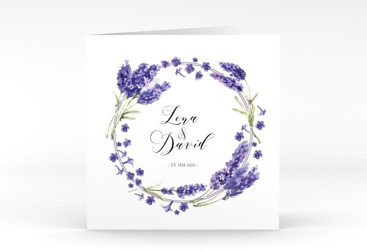 """Hochzeitseinladung """"Lavendel"""" Quadratische Klappkarte"""